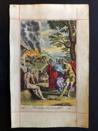 Blome 1690 Hand Col Religious Print. Job upon the Dunghill. Monster